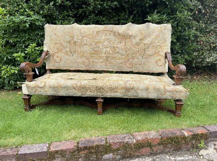 A Large Louis XIV Style Walnut Sofa