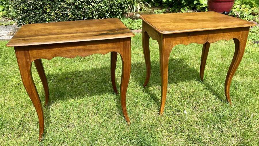 Pair of small walnut side tables