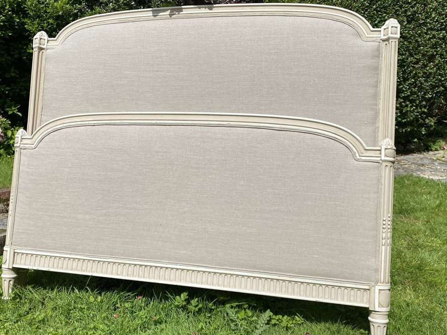 Kingsize painted and upholstered bed