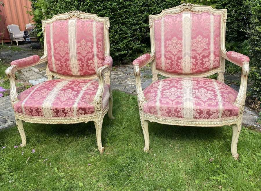 Pair of large painted armchairs