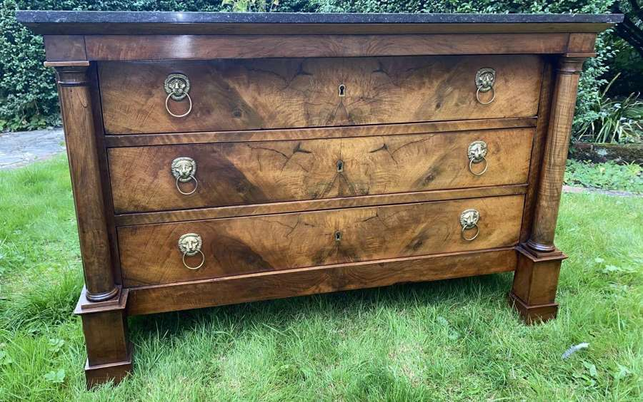 French Empire commode in figured walnut