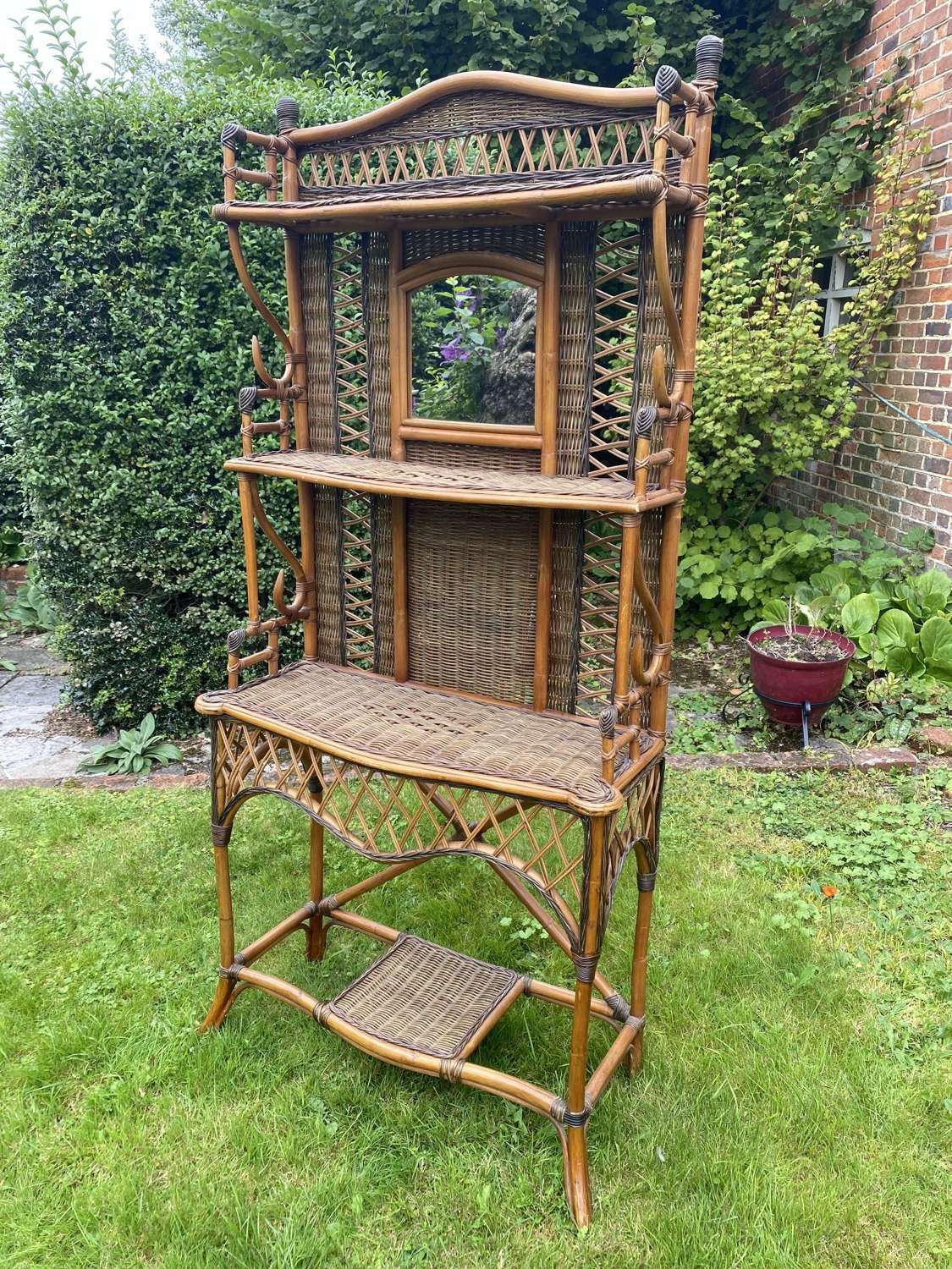 Cane and rattan hall stand