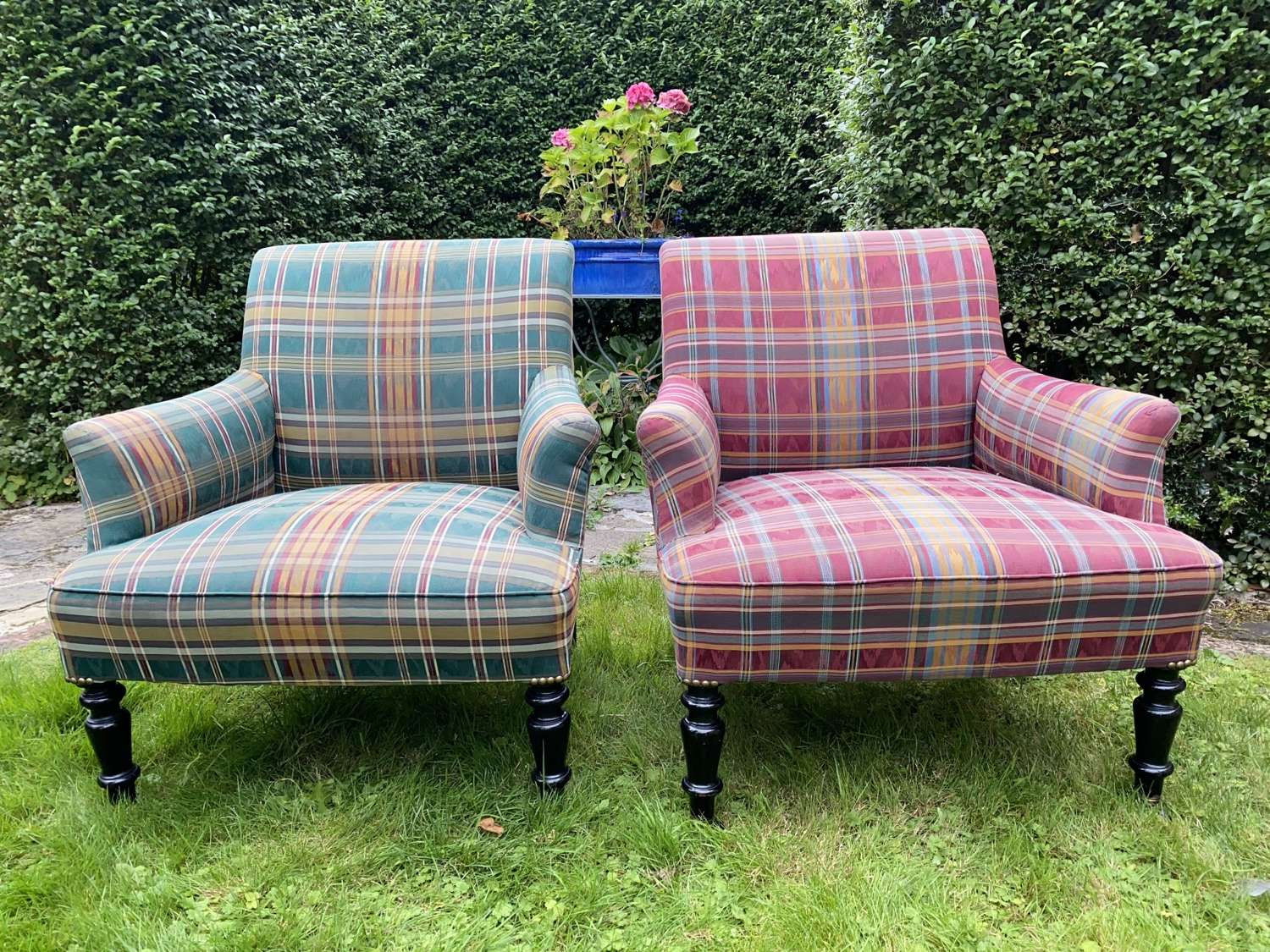 Pair of upholstered armchairs