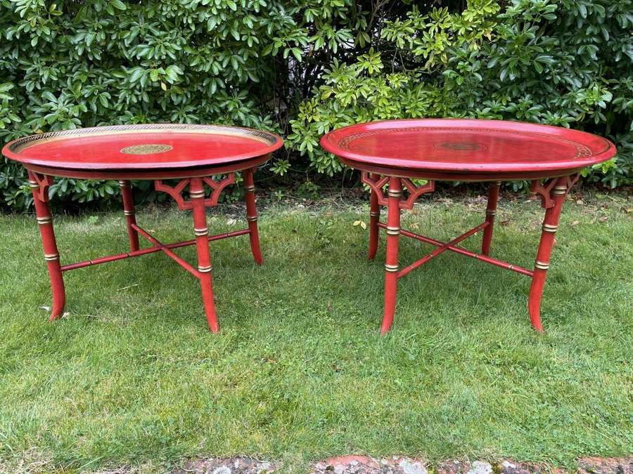 Pair of Faux Bamboo Tray Tables